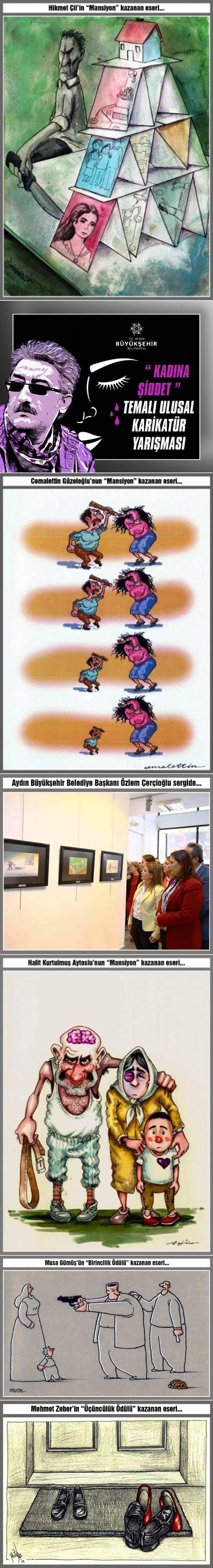"""Aydın Büyükşehir Belediyesi'nin düzenlediği """"Kadına Şiddet"""" konulu ulusal karikatür yarışmasında Boyabatlı karikatür sanatçısı Aşkın Ayrancıoğlu """"İkincilik Ödülü""""nü kazandı."""