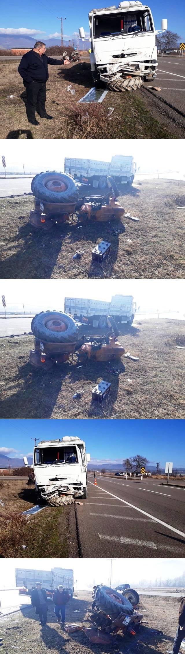 İlçemiz Bektaş Köyü mevkiinde kavşaktan köye dönmek isteyen traktör, sis nedeni ile kamyonla çarpıştı.