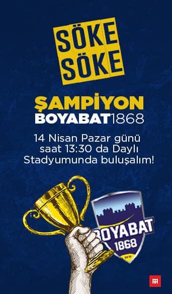 Sinop 1. Amatör Lig Şampiyonu Boyabat 1868 Spor Kulubumuzun 14 Nisan Pazar Saat 13:30'da Daylı Stadyumunda Şampiyonluk Kupamızı almaya davet ediyoruz