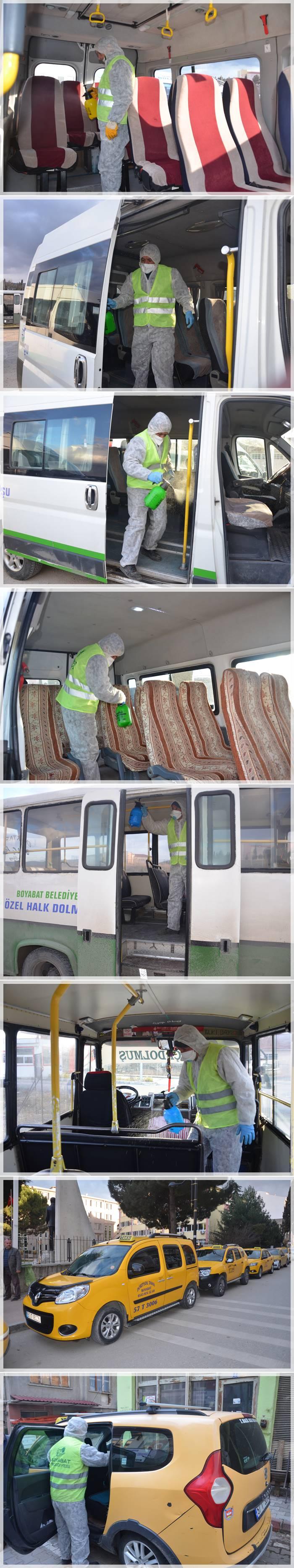 Boyabat Belediyesi Çevre Temizlik Müdürlüğü ile Şoförler ve Otomobilciler Odası'nın ortak yürüttüğü dezenfeksiyon çalışmalarının bugünkü ayağı dolmuşlar ve ticari taksiler oldu.