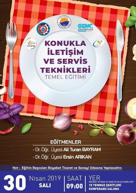 Sinop Genç Girişimciler Kurulu, Sinop Üniversitesi ile Boyabat Ticaret ve Sanayi Odasının işbirliği ile ilçemizde özellikle gıda sektörünün hizmet kalitesinin artırılmasını sağlamak amacıyla ücretsiz ve sertifikalı eğitim düzenlenecektir.