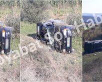 Bektaş Köyü yakınında bir araç takla attı..