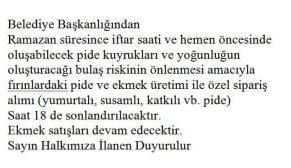 BOYABAT BELEDİYESİNDEN DUYURU!!!