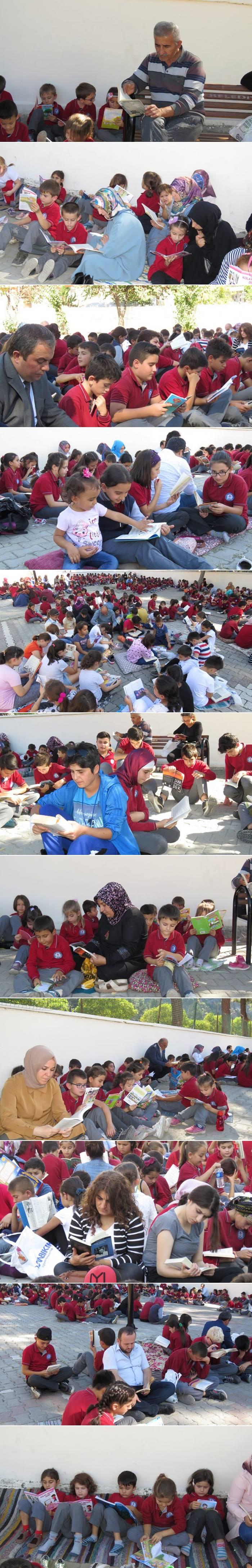 """İlçemiz Cengiz Topel İlkokulu/Ortaokulu """"Minderini Kap Gel Kitabını Oku"""" Etkinliğini Düzenleyerek Kitap Okuma Saatinde Okul Bahçesinde Öğrenciler, Öğretmenler ve Gönüllü Veliler Hep Birlikte Kitap Okudular."""
