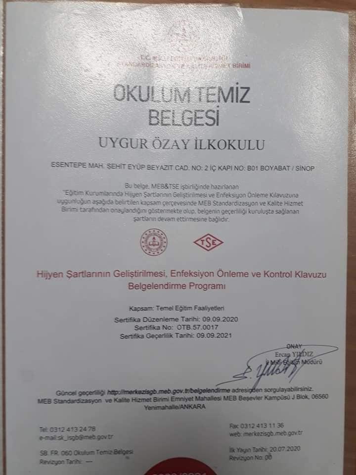 """MİLLİ EĞİTİM' DEN """"OKULUM TEMİZ BELGESİ"""""""