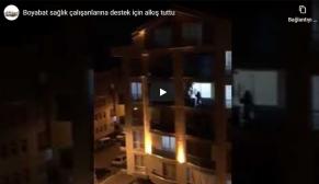 Boyabat sağlık çalışanlarına destek için alkış tuttu (Video)