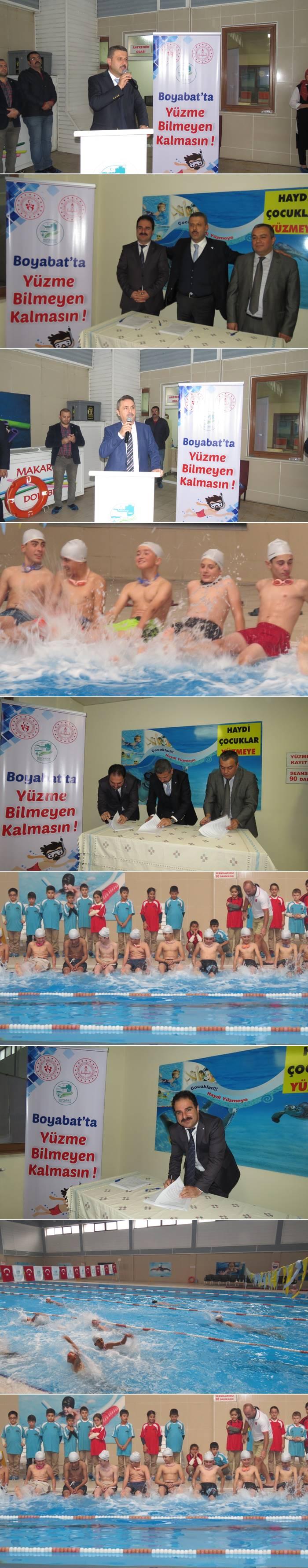 """Cumhurbaşkanlığı 2.Yüz günlük İcraat programı çerçevesinde Gençlik ve Spor Bakanlığı ve Milli Eğitim Bakanlığı ile hayata geçirilen """"Boyabat'ta Yüzme Bilmeyen Kalmasın"""" bugün saat: 14.00'de törenle imzalandı."""
