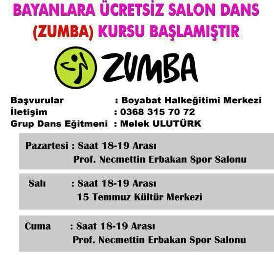 Boyabat'ta Bayanlara Ücretsiz , Salon Dansı (ZUMBA) Kursu Başladı