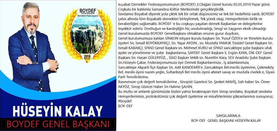 Yeni Boydef Genel Başkanından Teşekkür Yazısı
