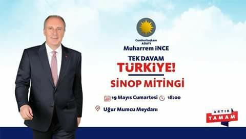 Muharrem İnce Sinop'a Geliyor