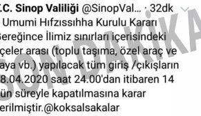 Tüm Sinop ve İlçelerine Giriş Çıkışlar Kapatıldı