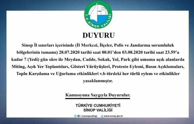 SİNOP VALİLİĞİNDEN DUYURU !!!