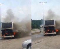 Sinop'ta Yolcu Tur Otobüsü Alev Aldı