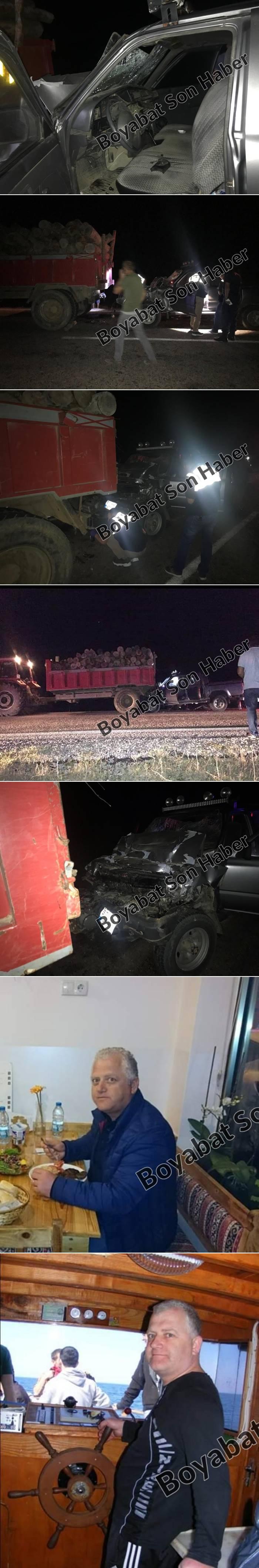 Bu akşam (13.09.2019 Cuma)  saat 21.00 sularında Dibekli mevkiinde otomobil odun yüklü traktör römorkunun altına girdi. Olay yerinde Öztaban Mobilya Sahibi. Y.Ö. yaşamını yitirdi.